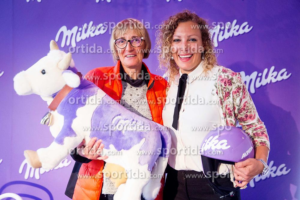 Darja Crnko with her daughter Ilka Stuhec during Milka press conference, on October 3, 2017 in Lolita Cake Shop, Ljubljana, Slovenia. Photo by Vid Ponikvar / Sportida