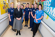 Her Royal Highness with the nursing team. The Duchess of Cornwall, Patron, Arthritis Research UK, visits and meets patients of the Adolescent Inpatient Unit at University College London Hospitals.  •	Her Royal Highness then tours a laboratory at the Arthritis Research UK Centre for Adolescent Rheumatology and meeting researchers and supporters. London 12 Feb 2015.
