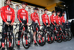 March 10, 2019 - Paris, Ile-de-France, France - Sunweb cycling team poses during the team's presentation at the start of the 138,5km 1st stage of the 77th Paris-Nice cycling race between Saint-Germain-en-Laye and Saint-Germain-en-Laye in the west suburb of Paris, France, on March 10, 2019. Whether leaders of a team or merely a team-mate, the riders on the Paris-Nice try to excel, either individually or as a team. According to the stage profiles, changes in the general standings or some unexpected circumstance during the race, each rider adapts his objectives to the situation. (Credit Image: © Michel Stoupak/NurPhoto via ZUMA Press)