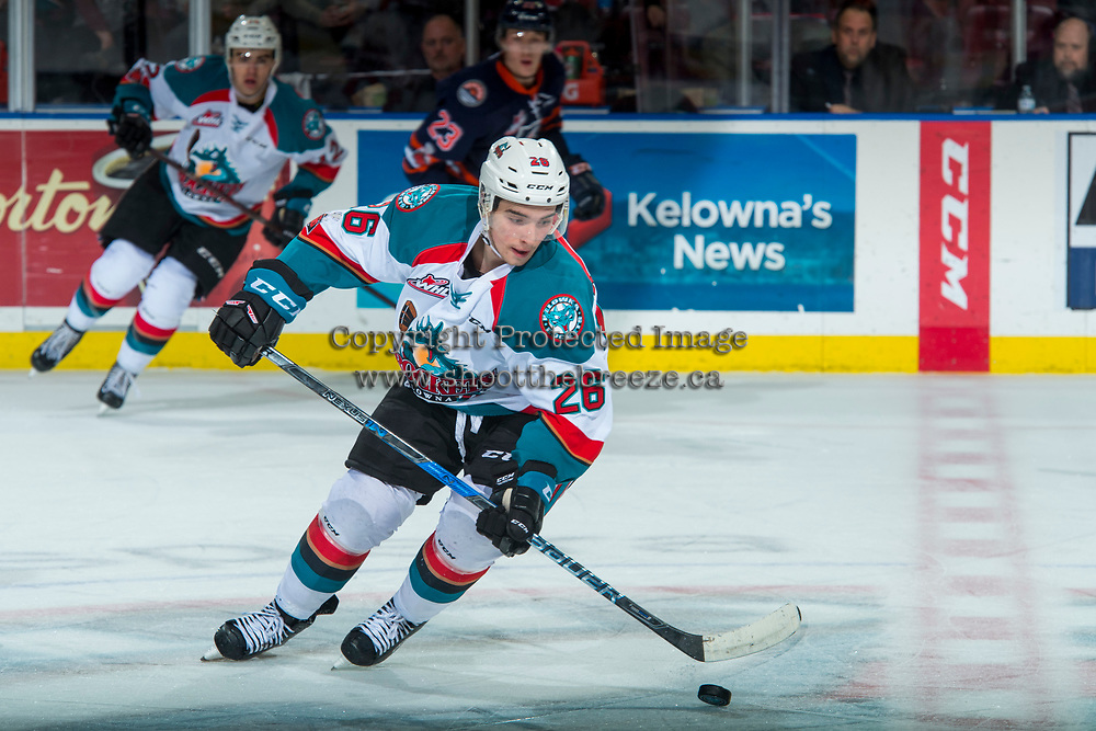 KELOWNA, CANADA - FEBRUARY 24:  Liam Kindree #26 of the Kelowna Rockets skates with the puck against the Kamloops Blazers on February 24, 2018 at Prospera Place in Kelowna, British Columbia, Canada.  (Photo by Marissa Baecker/Shoot the Breeze)  *** Local Caption ***