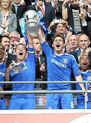 Wembley FA Cup Final Chelsea v Portsmouth  (1-0) 15/05/2010.John Terry and Frank Lampard lift the FA Cup for Double winners Chelsea.