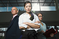 Multi Racial Group of Serious Business People Low Angle