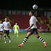 Jordan Cranston (Gateshead) misjudges the bounce of the ball and it sails over him and into his own box, setting up another Southport attack during the Vanarama National League match between Gateshead and Southport at Gateshead International Stadium, Gateshead, United Kingdom on 8 December 2015. Photo by Mark P Doherty.