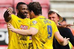 Darren Bent of Derby County celebrates after scoring his sides second goal 0-2  - Photo mandatory by-line: Matt McNulty/JMP - Mobile: 07966 386802 - 06/04/2015 - SPORT - Football - Wigan - DW Stadium - Wigan Athletic v Derby County - SkyBet Championship
