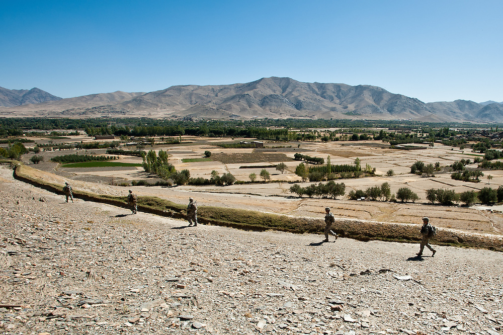 Blackhawk Company of the 2-87 Infantry Regiment, 3rd Brigade, 10th Mountain Division, on patrol in the Nerkh Valley of Wardak Province.