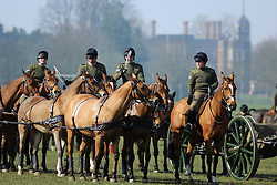 © Licensed to London News Pictures. 13/03/2014. The King's Troop Royal Horse Artillery performing exercises in south east London today in the glorious spring sunshine. After exercises in Charlton Park behind Charlton House, a cannon was taken to Woolwich Common where it was fired. Credit : Rob Powell/LNP