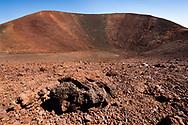 Mauna Kea Summit Trail, follows the rim of a small volcanic crater.  Summit is at the upper left. Big Island, Hawaii, © 2010 David A. Ponton