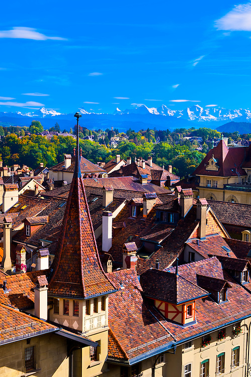 The medieval city center with Swiss Alps behind, Bern, Canton Bern, Switzerland