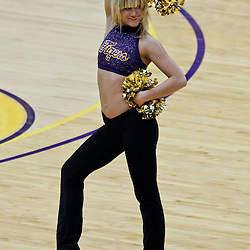 January 2, 2012; Baton Rouge, LA; A LSU Tigers tigers girl dancer performs during the second half of a game against the Virginia Cavaliers at the Pete Maravich Assembly Center. Virginia defeated LSU 57-52.  Mandatory Credit: Derick E. Hingle-US PRESSWIRE