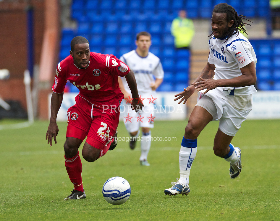 BIRKENHEAD, ENGLAND - Saturday, September 18, 2010: Tranmere Rovers' Ian Goodison in action against Charlton Athletic's Joe Anyinsah during the Football League One match at Prenton Park. (Photo by Vergard Grott/Propaganda)