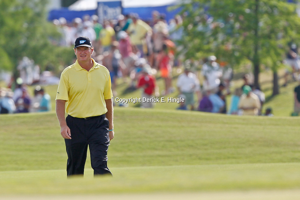 Apr 29, 2012; Avondale, LA, USA; Ernie Els on the first playoff at the 18th hole during the final round of the Zurich Classic of New Orleans at TPC Louisiana. Mandatory Credit: Derick E. Hingle-US PRESSWIRE