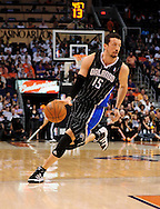 Mar. 13, 2011; Phoenix, AZ, USA; Orlando Magic forward Hedo Turkoglu (15) reacts on the court against the Phoenix Suns at the US Airways Center. The Magic defeated the Suns 111-88. Mandatory Credit: Jennifer Stewart-US PRESSWIRE