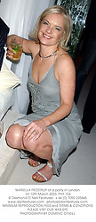 MARIELLA FROSTRUP at a party in London on 12th March 2003.	PHY 104