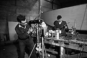 06-10/04/1964.04/06-10/1964.06-10 April 1964.Views on the River Shannon. Engineers at work in the repair shop of K. Line Boats, Shannon Harbour, Co. Offaly.