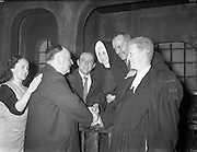 "30/01/1961<br /> 01/30/1961<br /> 30 January 1961<br /> District Justice Richard Johnson, (2nd left) author of  the play ""The Evidence I Shall Give"" meets the Abbey Theatre cast of the 1st production at Queen's Theatre, Pearse Street, Dublin"