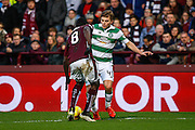 Celtic FC Midfielder James Forrest takes on Hearts FC Midfielder Prince Buaben during the Ladbrokes Scottish Premiership match between Heart of Midlothian and Celtic at Tynecastle Stadium, Gorgie, Scotland on 27 December 2015. Photo by Craig McAllister.
