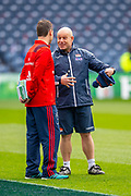 Richard Cockerill, Head Coach of Edinburgh Rugby (right) speaks with Munster head coach Johann van Graan before the Heineken Champions Cup quarter-final match between Edinburgh Rugby and Munster Rugby at BT Murrayfield Stadium, Edinburgh, Scotland on 30 March 2019.