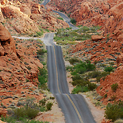 Winding road at the Valley of Fire, near Las Vegas, Nevada, USA