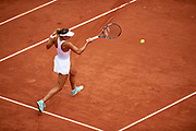 Paris, France - 2017 June 04: Magda Linette from Poland plays a forehand during her women's single match third round during tennis Grand Slam tournament The French Open 2017 (also called Roland Garros) at Stade Roland Garros on June 04, 2017 in Paris, France.<br /> <br /> Mandatory credit:<br /> Photo by &copy; Adam Nurkiewicz<br /> <br /> Adam Nurkiewicz declares that he has no rights to the image of people at the photographs of his authorship.<br /> <br /> Picture also available in RAW (NEF) or TIFF format on special request.<br /> <br /> Any editorial, commercial or promotional use requires written permission from the author of image.
