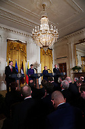 President Donald Trump participates in a press conference with leaders of the Baltic states on April 3, 2018.  (left to right: President Rainonds Vejonis of Lativia,President Kersti Kaljulaid of Estonia, President Dalia Grybauskaite of Lithuania, President Donald Trump.<br /> Photo by Dennis Brack