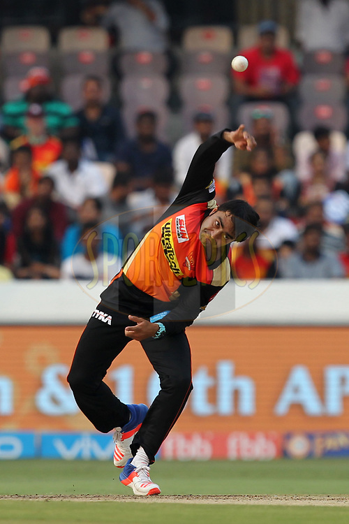 Rashid Khan of Sunrisers Hyderabad during match 6 of the Vivo 2017 Indian Premier League between the Sunrisers Hyderabad and the Gujarat Lions held at the Rajiv Gandhi International Cricket Stadium in Hyderabad, India on the 9th April 2017Photo by Prashant Bhoot - IPL - Sportzpics