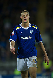 CARDIFF, WALES - Tuesday, February 14, 2012: Cardiff City's Rudy Gestede in action against Peterborough United during the Football League Championship match at the Cardiff City Stadium. (Pic by David Rawcliffe/Propaganda)
