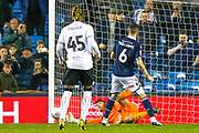 Millwall midfielder Shaun Williams (6) misses a penalty, saved by Bristol City goalkeeper Max O'Leary (24) during the EFL Sky Bet Championship match between Millwall and Bristol City at The Den, London, England on 30 April 2019.