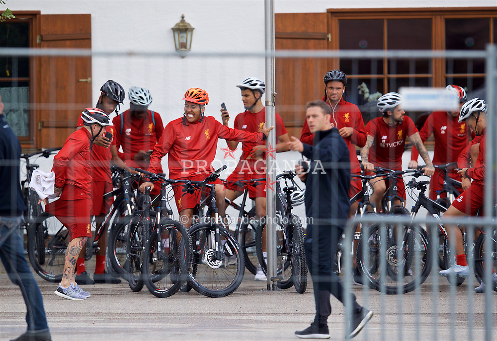 ROTTACH-EGERN, GERMANY - Friday, July 28, 2017: Liverpool's Roberto Firmino and his team-mates prepare to cycle back to their hotel after a training session at FC Rottach-Egern on day three of the preseason training camp in Germany. (Pic by David Rawcliffe/Propaganda)