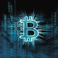 Bitcoin ₿ cryptocurrency, digital decentralized currency symbol, conceptual illustration of a bitcoin connected to a blockchain network.