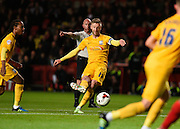 Preston North End goal scorer Paul Gallagher takes a free kick during the Sky Bet Championship match between Charlton Athletic and Preston North End at The Valley, London, England on 20 October 2015. Photo by David Charbit.