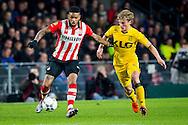 EINDHOVEN, PSV - Roda JC, voetbal, Eredivisie seizoen 2015-2016, 12-12-2015, Philips Stadion, PSV speler Jorgen Locadia (L), Roda JC speler Henk Dijkhuizen (R).