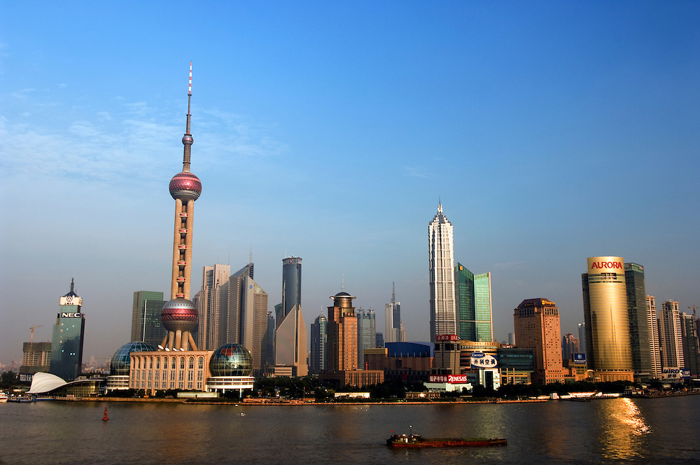 CHINA: Shanghai.Pudong skyline and the Yangtse River