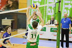 Gorazd Flisar and Urban Drvaric of Panvita Pomgrad during volleyball game between OK Panvita Pomgrad and ACH Volley in 2nd semifinal match of  Slovenian National Championship 2015, on April 5, 2015 in Murska Sobota, Slovenia. Photo by Mario Horvat / Sportida