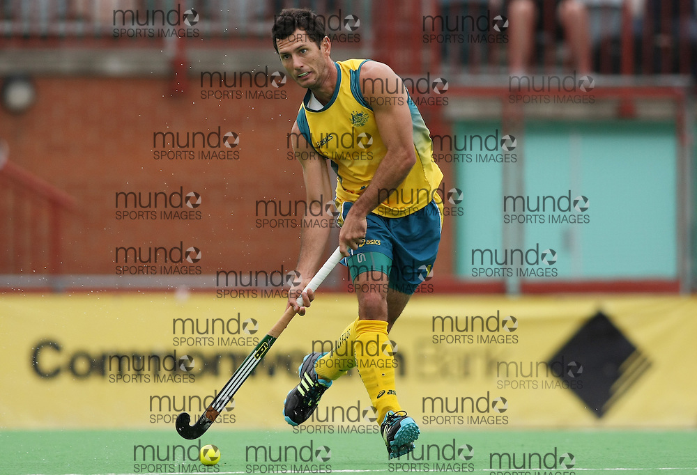 (Canberra, Australia---01 April 2012) Jamie Dwyer of the Australia Kookaburra national field hockey team during play against Japan in the third of a three game field hockey test series. Australia won the game 7-1 and the series 3-0. Copyright Photograph Sean Burges / Mundo Sport Images, 2012.