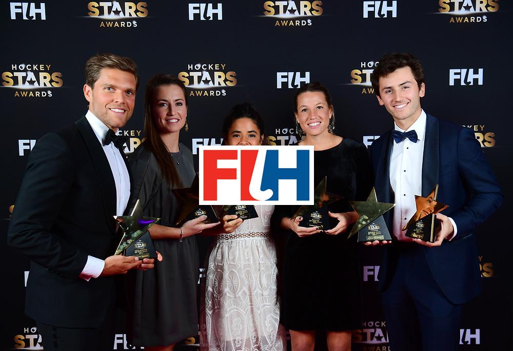 BERLIJN - FIH Hockey Stars Awards<br /> Foto: Stars of 2017<br /> Vincent Vanasch, Maddie Hinch, Maria Jose Granatto,  Delfina Merino and Arthur van Doren<br /> WORLDSPORTPICS COPYRIGHT FRANK UIJLENBROEK