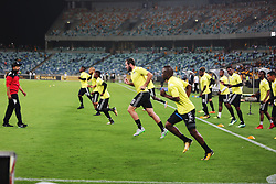 10032018 (Durban) stellenbosch FC players warming up when Kaizer Chiefs will look to advance to the next round of the Nedbank Cup top 16 when hosting Stellenbosch FC at the Moses Mabhida Stadium. Amakhosi went down 3-1 to arch-rivals Orlando Pirates in a tense Soweto derby match last weekend where they lost ground in their league title chase.Picture: Motshwari Mofokeng/African News Agency/ANA