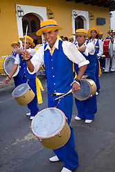 Central America, Nicaragua, Granada.  High school marching band in parade during festival.