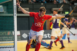 Liam Foster celebrates scroring the winning goal for Canterbury. Sevenoaks v Canterbury - Hockey 5s, SSE Arena, Wembley, London, UK on 25 January 2015. Photo: Simon Parker