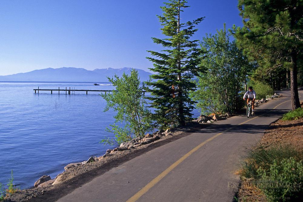 Pedestrian / bike recreation trail along the shore of Lake Tahoe, near Tahoe Pines, California