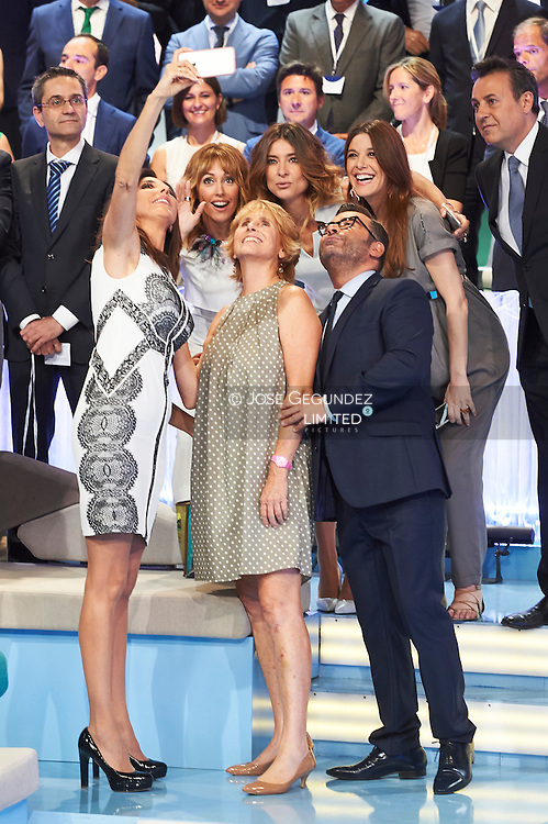 Raquel Sanchez Silva, Jorge Javier Vazquez, Mercedes Mila, Sandra Barneda visit Telecinco TV Studios for their 25 anniversary on July 9, 2015 in Madrid