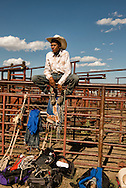 Crow Fair Rodeo, Jr. Steer Rider, Crow Indian Reservation, Montana, teenagers