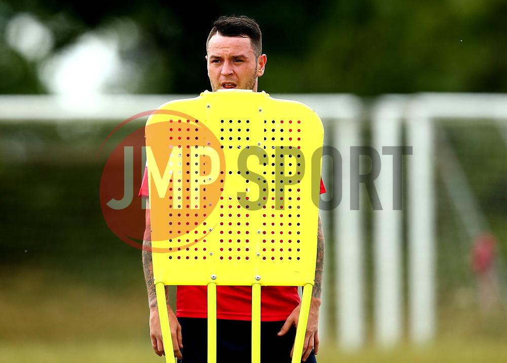 Lee Tomlin replaces his head on a training mannequin during Bristol City's return to training ahead of their 2017/18 Sky Bet Championship campaign - Mandatory by-line: Robbie Stephenson/JMP - 30/06/2017 - FOOTBALL - Failand Training Ground - Bristol, United Kingdom - Bristol City Pre Season Training - Sky Bet Championship