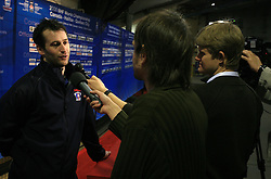 Tomaz Razingar with journalists after practice of Slovenian national team at Hockey IIHF WC 2008 in Halifax,  on May 06, 2008 in Metro Center, Halifax, Canada.  (Photo by Vid Ponikvar / Sportal Images)