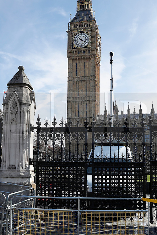 © Licensed to London News Pictures. 25/03/2017. London, UK. A temporary security camera deployed next to Carriage Gate in New Palace Yard at the Houses of Parliament. There is much heightened security around Westminster following a terror attack earlier in the week in which a lone man drove a car over Westminster Bridge, killing and injuring dozens of members of the public, before attacking and killing a police officer. Photo credit: Peter Macdiarmid/LNP