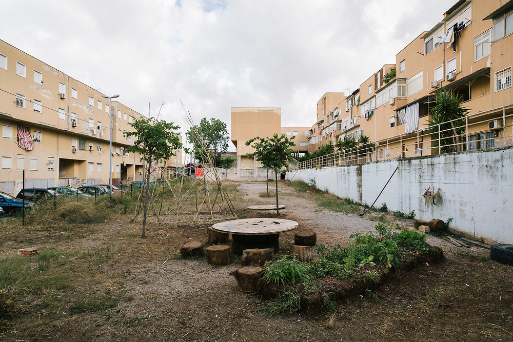 PALERMO, ITALY - 15 JUNE 2018: &quot;Becoming Garden&quot; (2018), a work on site by  Coloco + Gilles Cl&eacute;ment, is seen here in the Zen2 district during Manifesta 12, the European nomadic art biennal, in Palermo, Italy, on June 15th 2018.<br /> <br /> Manifesta is the European Nomadic Biennial, held in a different host city every two years. It is a major international art event, attracting visitors from all over the world. Manifesta was founded in Amsterdam in the early 1990s as a European biennial of contemporary art striving to enhance artistic and cultural exchanges after the end of Cold War. In the next decade, Manifesta will focus on evolving from an art exhibition into an interdisciplinary platform for social change, introducing holistic urban research and legacy-oriented programming as the core of its model.<br /> Manifesta is still run by its original founder, Dutch historian Hedwig Fijen, and managed by a permanent team of international specialists.<br /> <br /> The City of Palermo was important for Manifesta&rsquo;s selection board for its representation of two important themes that identify contemporary Europe: migration and climate change and how these issues impact our cities.