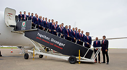 CARDIFF, WALES - Saturday, June 4, 2016: The Wales team pose for a photograph on the steps of the plane as the squad is given a send off at Cardiff Airport before heading to Sweden for their last friendly before the UEFA Euro 2016 in France. (Pic by Paul Greenwood/Propaganda)