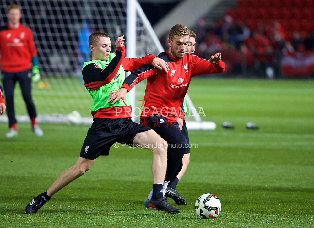 ADELAIDE, AUSTRALIA - Sunday, July 19, 2015: Liverpool's captain Jordan Henderson and Jordan Rossiter during a training session at Coopers Stadium ahead of a preseason friendly match against Adelaide United on day seven of the club's preseason tour. (Pic by David Rawcliffe/Propaganda)