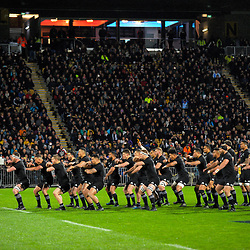 The All Blacks perform a haka before the Rugby Championship match between the NZ All Blacks and Argentina Pumas at Yarrow Stadium in New Plymouth, New Zealand on Saturday, 9 September 2017. Photo: Dave Lintott / lintottphoto.co.nz