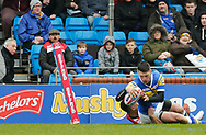 Tom Briscoe of Leeds Rhinos dives over to score the 1st try of the game against Salford Red Devils during the Betfred Super League match at Emerald Headingley Stadium, Leeds<br /> Picture by Stephen Gaunt/Focus Images Ltd +447904 833202<br /> 02/04/2018