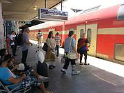 Israel, Tel Aviv passengers at Hahagana train station